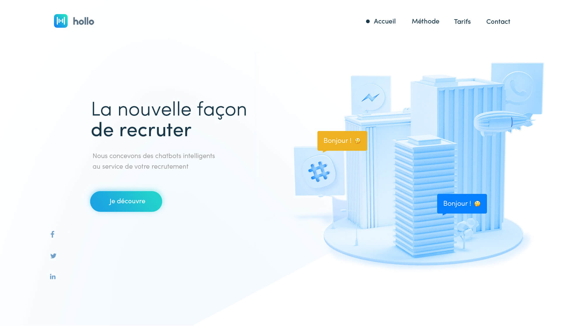 Design de la page d'accueil d'Hollo